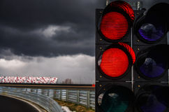Traffic light on race track stock photos