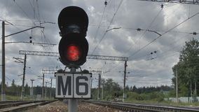 Traffic light on the railroad stock video