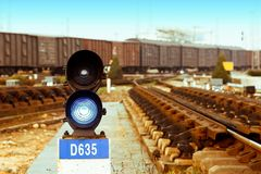 Traffic light in railroad Stock Image