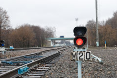 Traffic light on the railway Stock Photo