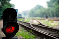 A traffic light at the railway Stock Images