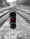 Traffic light in the railway Royalty Free Stock Images