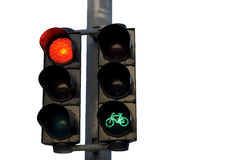 Traffic light   red. Semaphore or traffic light with green signal for bicyclists isolated in white background Royalty Free Stock Image