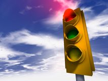Traffic Light - red. Traffic Light 3d model - red Royalty Free Stock Photo