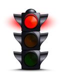 Traffic light on red. Over white Royalty Free Stock Images