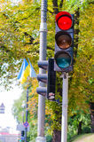 Traffic light red in the city Royalty Free Stock Images