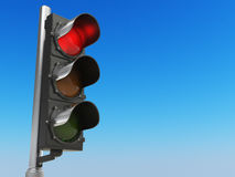 Traffic light with red color on blue sky background. Stop concep Royalty Free Stock Image