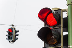 Traffic light with red light. A traffic light with red light. symbolic photo for maintenance, economy, failure royalty free stock image