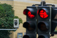 Traffic light with red light camera Stock Image