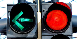 Traffic light with red light and green light Stock Photo