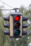 Traffic light with red light. A traffic light shows red light. symbolic photo for maintenance, end stock images