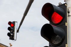 Traffic light with red light. A traffic light shows red light. symbolic photo for maintenance, end stock photography