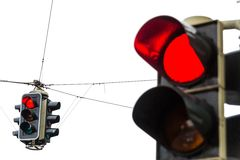 Traffic light with red light. A traffic light with red light. symbolic photo for maintenance, economic, failure royalty free stock photo