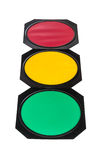 Traffic light with red, yellow and green lights Royalty Free Stock Photography
