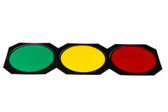 Traffic light with red, yellow and green lights Stock Photos