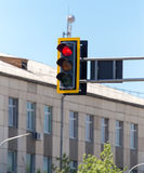 Traffic light on the road in the city.  Royalty Free Stock Photos