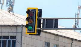 Traffic light on the road in the city.  Stock Image