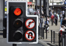 Traffic light at road junction Stock Image