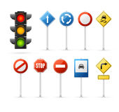 Traffic Light and Road Sign Set. Vector Stock Image