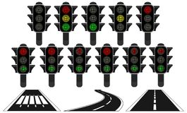 Traffic Light Roads Design Elements Royalty Free Stock Images