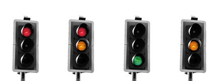 Traffic light sequence. UK traffic lights sequence panorama. Black and white with only lights colored Royalty Free Stock Photos