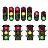 Traffic light set isolated on white background Stock Photos