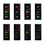 Traffic light set with left turn arrow Stock Photos