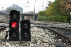 Traffic light shows red signal Stock Photos