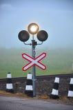 Traffic Light Shows white Signal. On railway Stock Photo