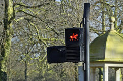 Traffic light signal for equestrians Stock Photos