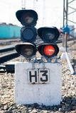 Traffic light signal on the railway Royalty Free Stock Images