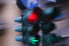Traffic light signal - Semaphore. Traffic light red and green - motion blur Royalty Free Stock Photo