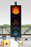 Traffic Light Signal Shows Yellow Light Royalty Free Stock Photography