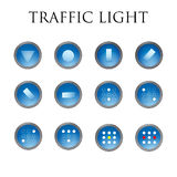 Traffic light. Signs , traffic , blue , icons, clear , circle , 3d , usa , icons, roads, street Royalty Free Stock Photos