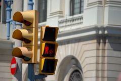 Traffic light. Signs shows inhibit signal Stock Images