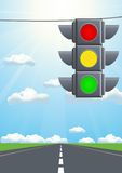 Traffic light in the sky Royalty Free Stock Photos