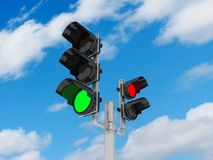 Traffic light  on sky background, 3D Stock Images