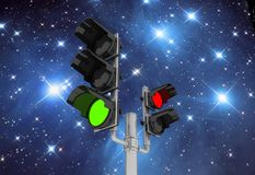 Traffic light  on sky night background Royalty Free Stock Images