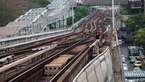 The Skytrain Rails. Traffic light on Skytrain rails Royalty Free Stock Photos
