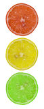 Traffic light from slices of lemon Royalty Free Stock Photos