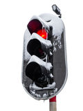 Traffic light in the snow. White background. Royalty Free Stock Photos