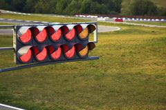 Traffic light on sport track Royalty Free Stock Photo