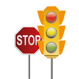 Traffic light and stop signal Royalty Free Stock Image