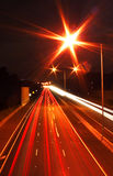 Traffic light streaks. Streaks of light created by traffic on the freeway Stock Photography
