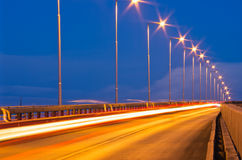 Traffic with light streaks Stock Image