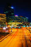 Traffic on Light Street and modern buildings at night, in Baltim. Ore, Maryland Royalty Free Stock Image