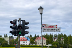 Traffic light and street sign in Reykjavik, Iceland Royalty Free Stock Image