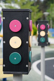 Traffic light. Taking a railroad crossing in the day light Royalty Free Stock Photo