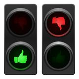 Traffic light thumb up and down. Traffic light with thumb up and thumb down. Vector available Stock Photo