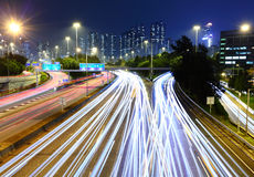 Traffic Light Trail on  Highway Stock Photography